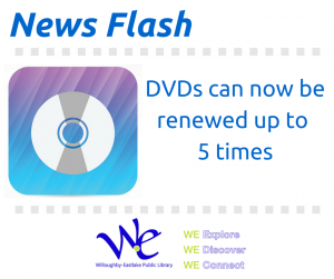 DVDs can now be renewed up to 5 times.