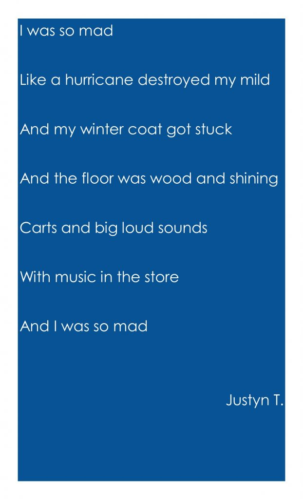 I was so mad Like a hurricane destroyed my mild And my winter coat got stuck And the floor was wood and shining Carts and big loud sounds With music in the store And I was so mad