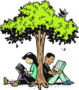 Kids reading under a tree